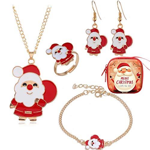 Jbniuay Weihnachten Geschenk für Frauen Mädchen, Damen Weihnachtsmann Ohrringe Ring Halskette Armband Schmuck Set, Kommt in Geschenkbox, 4pcs (Weihnachtsmann)
