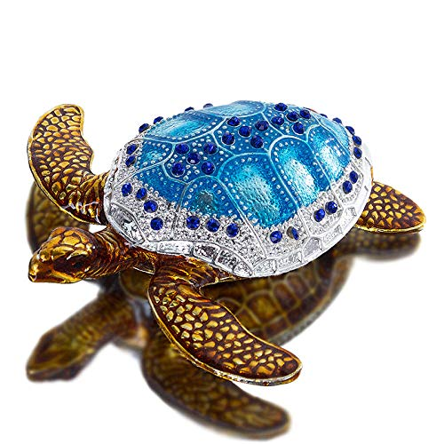 ahjs457 Turtle Doll Collection bisagra pequeño joyero Decorado con Joyas Titular de Anillo Pintado a Mano Regalo de Madre decoración de Boda Familiar-como se Muestra