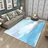 Combinación de Azul y Blanco Arte Abstracto Antideslizante y no es fácil de Ocultar Alfombra Gris del área de la casa Junto a la Cama-El 160x230cm Decoración del hogar para salón y Dormitorio