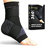 GARNO Ankle Brace Compression Sleeve with Adjustable Straps, Arch Support & Foot Stabilizer, Elastic Wrap for Plantar Fasciitis, Achilles Tendonitis Recovery, Sports Bandage Sock; Men, Women
