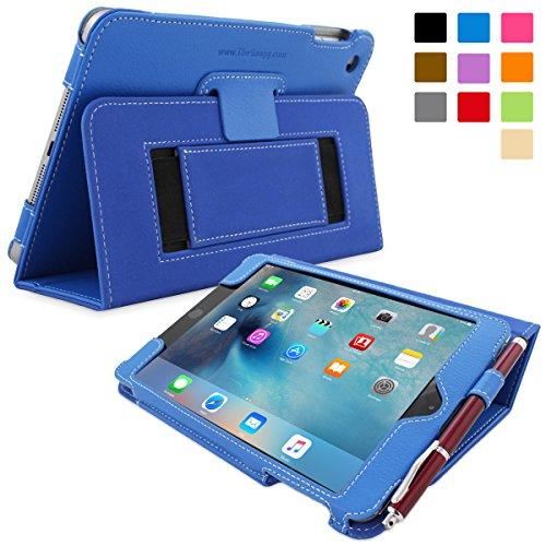 Snugg iPad Mini 5 (2019) & iPad Mini 4 (2015) Leather Case, Flip Stand Cover - Electric Blue