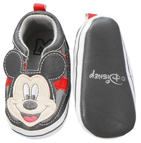 Disney Newborn/Infants Boys Mickey Mouse Slip-On Grey/Red 3-6 Months