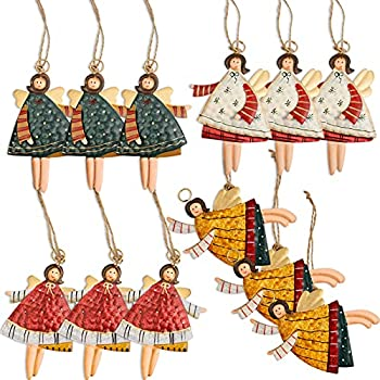 Gaobei Christma Santa Ornaments Tree Decorations Dancing Flying Tin Angels  Set of 12
