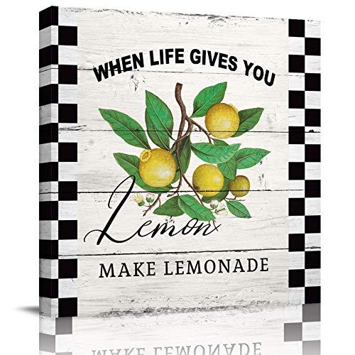 HOMMOU Lienzo impreso de pared para oficina, hogar, decoración de pared, verano, limón y hojas en rejilla negra, arte moderno, lienzo enmarcado para sala de estar, cocina, baño, 8 x 8 pulgadas