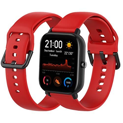 Th-some Correa para Amazfit GTS Smartwatch Reloj de Pulsera Compatible con Amazfit GTS/Amazfit Bip/Amazfit GTR 42mm Band Silicona (Rojo)