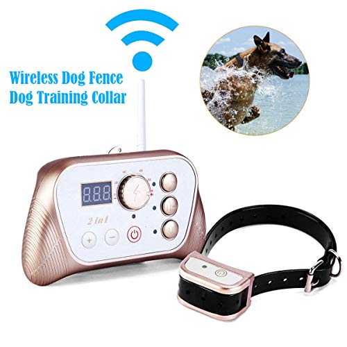 JUSTPET Wireless Dog Fence Dog Training Collar 2-in-1 System, Stable Signal Wireless Dog Fence, Tone/Vibrate/Shock Remote Collar, Rechargeable Waterproof Collar