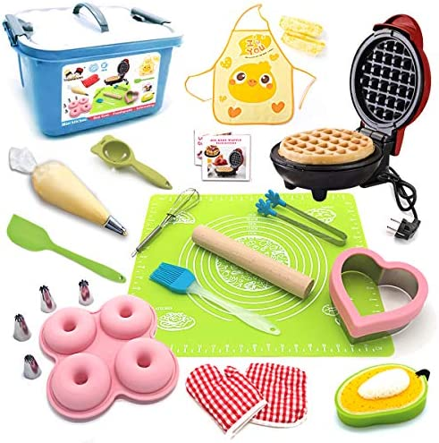 BABYHORSE Kids Junior Tiny Real Easy Bake Kitchen Set and Cook Kit 15 Pc Mini Waffle Maker Chef product image