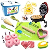 Kids Junior Tiny Real Easy Bake Kitchen Set and Cook Kit - 15 Pc. Mini Waffle Maker, Chef, Apron, Oven Mitt, Recipes - Easy Baking Real Food Utensils Gift for Boys and Girls Ages 6-12