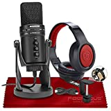 Samson G-Track Pro USB Microphone W/Audio Interface + Samson SR360 Over-Ear Dynamic Stereo Headphones, Xpix Headphone Hanger & Fibertique Microfiber Cleaning Cloth