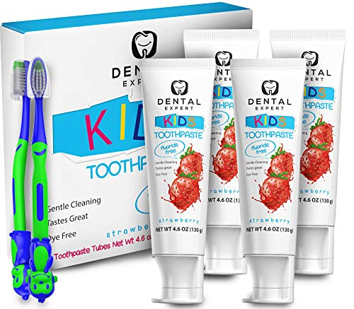 Dental Expert 4 Pack Kids Toothpaste - 4.6oz [Fluoride-Free] Strawberry Flavor Natural Toothpastes - Total Oral Care [Free Toothbrush for Children]
