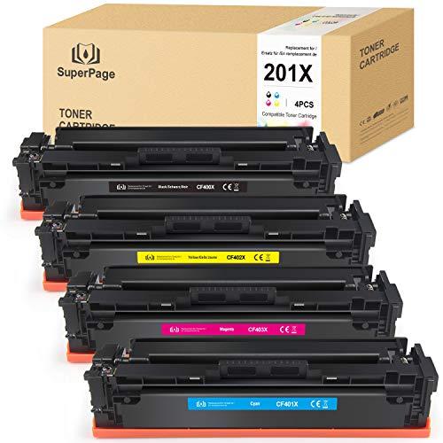 Suprepage CF400X Compatibel met HP 201X 201A CF400X CF400A Toner voor HP Color Laserjet Pro MFP M277DW M252DW M277N Laserjet Pro M252N M274N M252 M252DN (zwart/cyaan/magenta/geel)