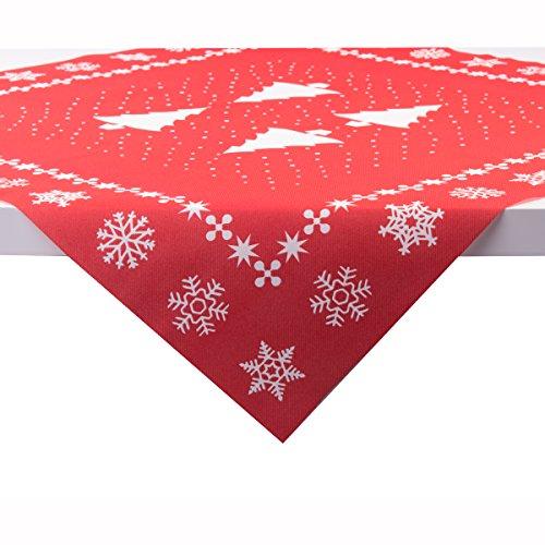 Sovie Home Tischdecke White Tree in Rot | Linclass® Airlaid | Weihnachten Tannenbaum Tischtuch Mitteldecke | 80x80 cm