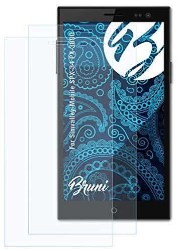 Bruni Schutzfolie kompatibel mit Simvalley-Mobile SPX-34 PX-3890 Folie, glasklare Bildschirmschutzfolie (2X)