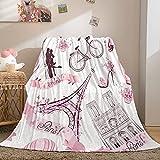 Pink Paris Blanket Eiffel Tower Throw Blanket Romantic Travel in Paris Printed Flannel Fleece Blanket for Teens Boys Girls Soft Fuzzy Plush Blanket for Bedroom Couch Sofa (Throw(50'x60'), ETower4)