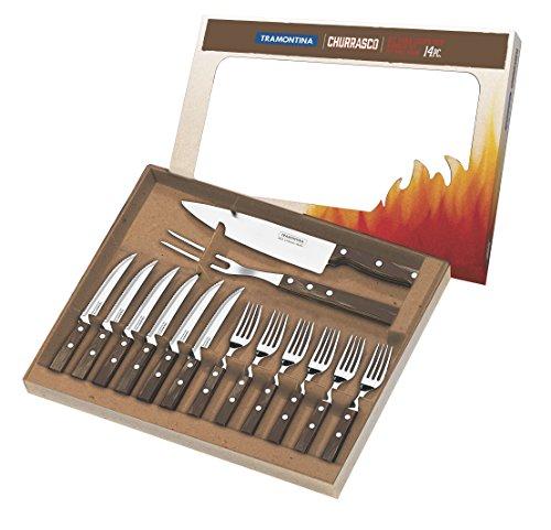 Tramontina 29899/211 BBQ Grillbesteck, Set 14 teilig, Grillset mit Steakbesteck, Tranchiergabel und Tranchiermesser, FSC, Edelstahl, Echtholz