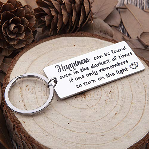 Encouragement Keychain Gifts for Women Teens Happiness Can Be Found in The Darkest of Times Harry Potter Key Ring Daughter Son Gifts Inspirational Motivational Gifts for Girls Boys Men