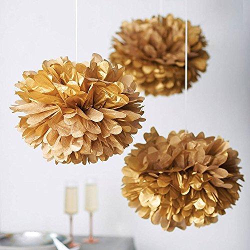 Mr. Gadget Solution 10 pompones de papel de seda para bodas, Navidad y decoraciones de fiesta, 20,3 cm / caramelo
