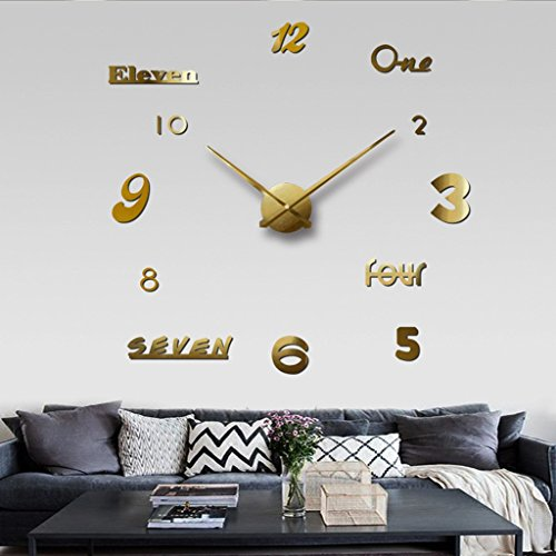 horloge murale Chinatera Moderne Mute DIY Grande 3D Autocollant Home Office Decor Noir Cadeau (Couleur : Or)