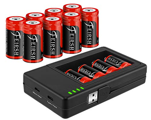 Battery for Arlo, 8 Pack CR123A Rechargeable Battery Compatible with Arlo Wireless Cameras 3.7V 800mAh Batteries with Case and Arlo Battery Charger for Arlo VMC3030 VMK3200 VMS3330 3430 3530 and More