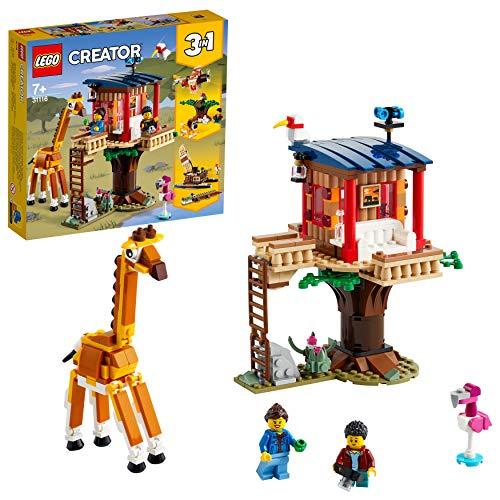 LEGO 31116 Creator 3-in-1 Safari-Baumhaus, Katamaran oder Flugzeug, Bauset mit Löwe Spielzeug