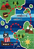 Momeni Rugs Lil' Mo Whimsy Collection, Kids Themed Hand Carved & Tufted Area Rug, 8' x 10', Treasure Map Green & Blue