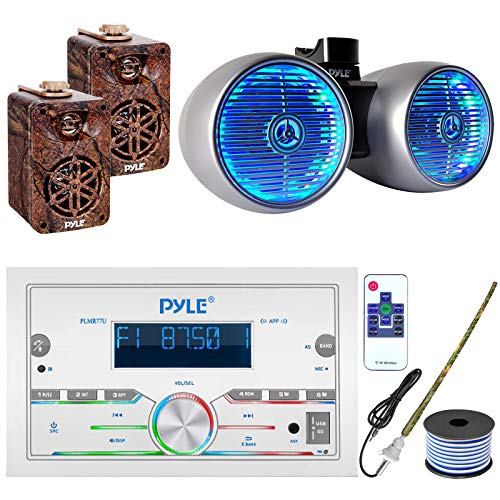 """Pyle Double DIN AM FM Stereo USB AUX Bluetooth Marine Power Receiver Bundle Combo with 6.5  400W Wakeboard Silver Marine LED Speakers, 2X 3.5"""" Indoor Outdoor Camo Speakers, Antenna, 18 Gauge Wire"""