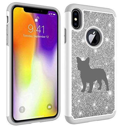 Glitter Bling Sparkle Shockproof Protective Hard Soft Case Cover for Apple iPhone French Bulldog (Silver, for Apple iPhone 6 Plus/iPhone 6s Plus)
