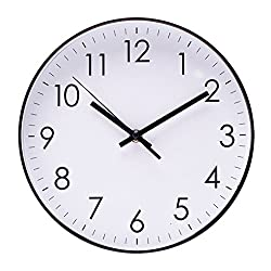 Epy Huts Wall Clock for Living Room,Indoor Non-Ticking Silent Quartz Quiet Sweep Movement Wall Clock for Office,Bathroom,Living Room Decorative 10 Inch White