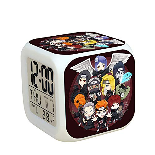 Cnlololog Colorido Naruto, Snooze, Personalidad, Reloj de alarma creativo, Sangre para la organización Xiao Q Tablero, Todos los miembros son lindos, y los colegas circundantes Regalo de cumpleaños Re