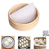 Silicone Steamer Mat Pad Revêtements de vapeur en bambou 4pcs tapis de boulettes rondes pour cuisson à la vapeur panier, cuisson, légumes, riz, dim sum