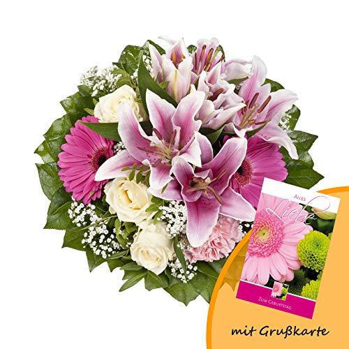 """Dominik Blumen und Pflanzen, Blumenstrauß """"Laura"""" mit rosa Lilien, Rosen und Gerbera und Grußkarte """"Geburtstag"""""""