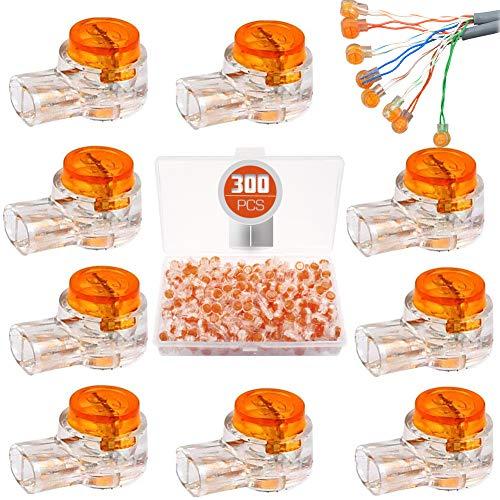 BITEFU 300 Stück K1 Scotchlok Kabel Verbinder UY-Schnittstelle Klemme Kabelverbinder mit Dichtungsgel Fettfüllung für Telefonkabel Netzwerkkabel