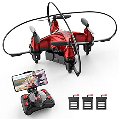 Holyton HT02 Mini Drone with 720P FPV Camera for Kids Beginners, Foldable RC Nano Quadcopter with App Control, Gesture Control, 3D Flips, 3 Batteries, Tap Flight, Gravity Sensor, Toys for Boys Girls