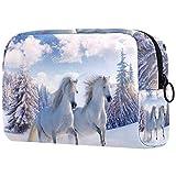 Bolsa de cosméticos para mujeres, caballos blancos corriendo en la nieve,...