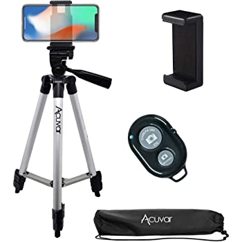 """Acuvar 50"""" Inch Aluminum Camera Tripod, Universal Smartphone Mount + Wireless Remote Control Camera Shutter for iPhone 12, iPhone 11 Pro Max, 11 Pro, Xs, Xr, X, SE 2 Pixel 3, Android S20 S10 Note 10"""