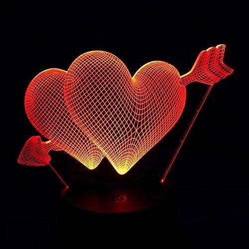 Jiushixw 3D acryl nachtlampje met afstandsbediening van kleur veranderende bureaulamp liefhebbers huwelijksdag geschenk mooie liefde hartvorm Amor pijl slaapkamer ovaal tafel