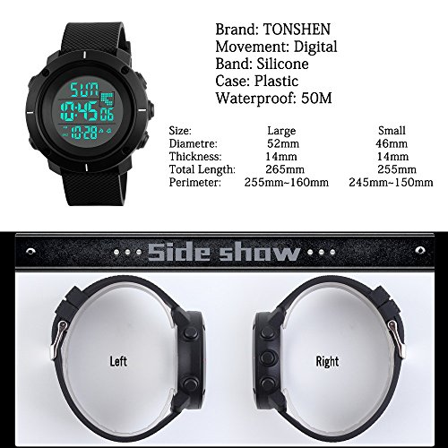 TONSHEN Men's Digital Sport Watch for Men Women 50M Waterproof Outdoor Multifunction Military Watch Black Plastic Case with Silicone Strap 12H/24H Time Backlight Stopwatch Date Alarm - Black