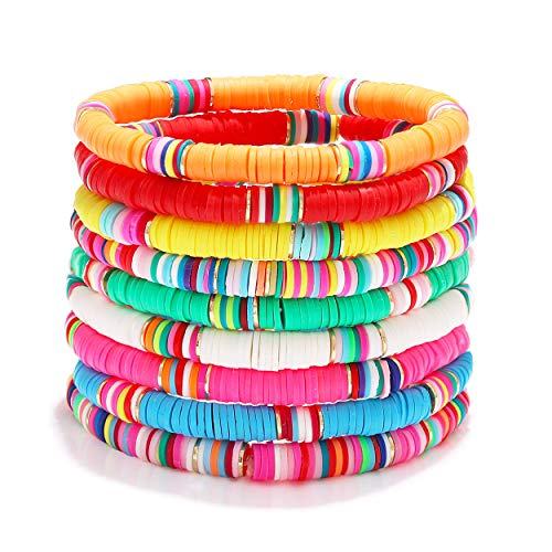 Surfer Heishi Bracelets for Women Stackable Rainbow Vinyl Disc Beaded Stretch Bracelets Elastic Layering Friendship Bracelets Boho Summer Beach Jewelry (Style A)