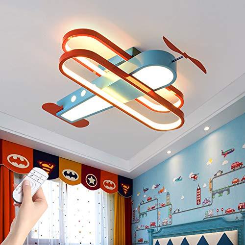 Lámpara de techo Avión LED 33W Lámpara de dormitorio Niño, Lámpara colgante Cuarto de los niños Regulable, Luces de techo sala con mando a distancia, Colgante de luz de hierro Altura ajustable