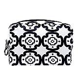 Negro y blanco repetir patrón geométrico cuadrado flor 18.5x7.5x13cm bolsas de maquillaje, bolsas de cosméticos de viaje, bolsa multifuncional para mujeres y hombres