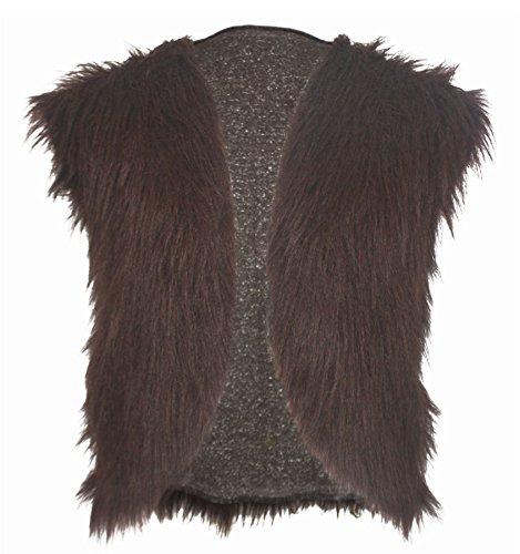 The Dragons Den Adultos Marrn Oscuro Vikingo Faux Fur Chaleco Mountain Man Fancy Dress[S/M]
