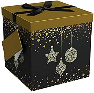 EndlessArtUS Starlight 12x12x12 Gift Box Pop Up in Seconds Comes with Decorative Ribbon Mounted on The Lid a Gift Tag and Tissue Paper - No Glue or Tape Required