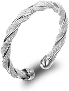 Fashion Women Jewelry Solid 925 Sterling Silver Bangle Bracelet Gift