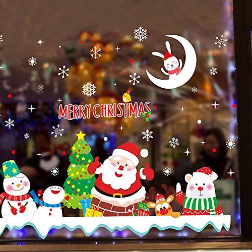 Adesivi in vetro di Babbo Natale pupazzo di neve Adesivi murali di Natale fai-da-te per il soggiorno della casa Finestra del negozio Decorazione invernale