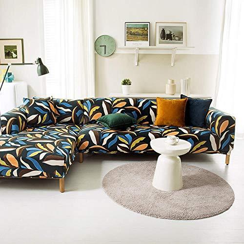 Funda Sofa 1 Plaza Hojas Negras Fundas para Sofa con Diseño Elegante Universal,Cubre Sofa Ajustables,Fundas Sofa Elasticas,Funda de Sofa Chaise Longue,Protector Cubierta para Sofá