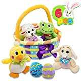 My First Easter Egg Basket Stuffed Plush Playset for Baby Kids Easter Theme Party Favor, Easter Eggs Hunt, Basket Stuffers Fillers, Party Supplies Decor Props Decorations, Easter Gifts