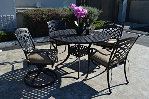 St. Augustine Cast Aluminum Powder Coated 5pc Outdoor Patio Dining Set with 48' Round Table with Sunbrella Cushions- Antique Bronze