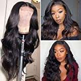 Body Wace Lace Front Wig Human Hair RXY 4x4 Lace Front Wigs 100% 10A Brazilian Virgin Human Hair Wig 180 Density Wavy Hair Wigs For Black Women (Natural Color, 26 inches)
