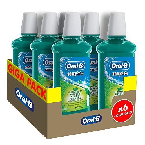 Oral-B Complete Collutorio Antibatterico Senza Alcol, Combatte L Alito Cattivo, Maxi Pacco da 6 x 500 ml