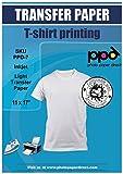 PPD Inkjet Premium Iron-On Light T Shirt Transfer Paper 11 x 17' Pack of 20 Sheets (PPD007-20)